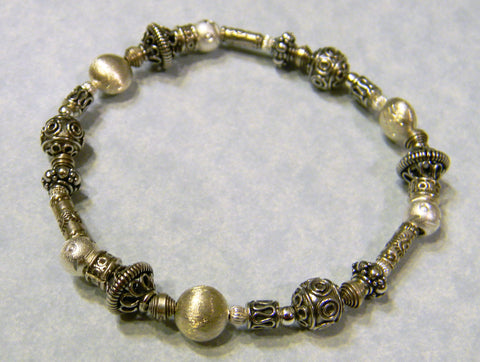 All Silver Bali Bead, Sterling and Hill Tribe Tube Stretch Bracelet