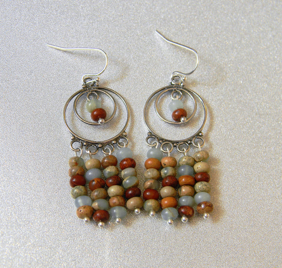 Multicolor Amazonite and Silver Chandelier Earrings