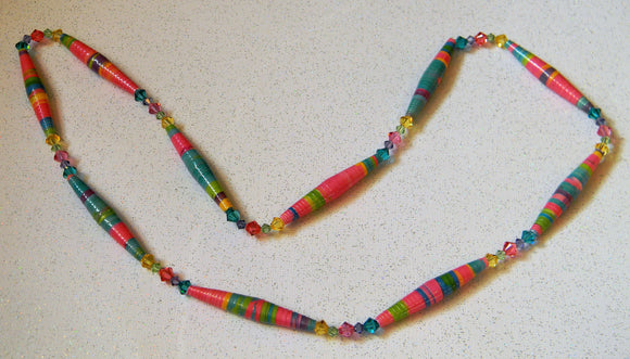 Tropical Colored Rolled Paper Bead and Crystal Long Necklace