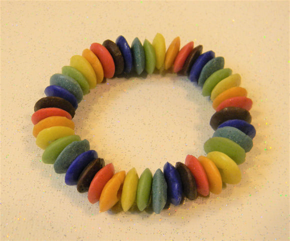 Multicolor Rainbow Ashanti Glass Doughnut Disk Stretch Bracelet