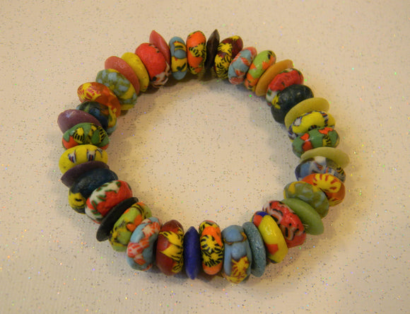Very Large Multicolor Krobo and Ashanti Doughnut Disk Stretch Bracelet