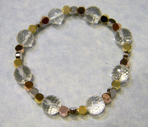 Clear Faceted Quartz and Tricolor Metal Stretch Bracelet