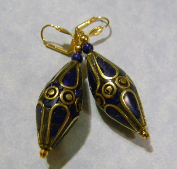 Large Lapis and Brass Drop Earrings
