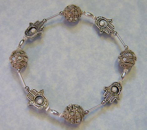 Silver Hamsa and Bali Bead Stretch Bracelet