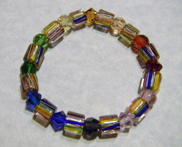 Rainbow Furnace Bead and Crystal Stretch Bracelet