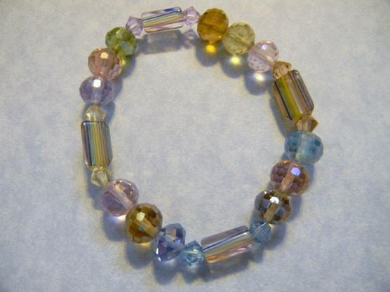 Pastel Colored Furnace Bead and Crystal Stretch Bracelet