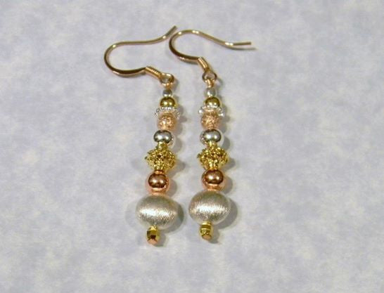Tricolor Metal Drop Earrings