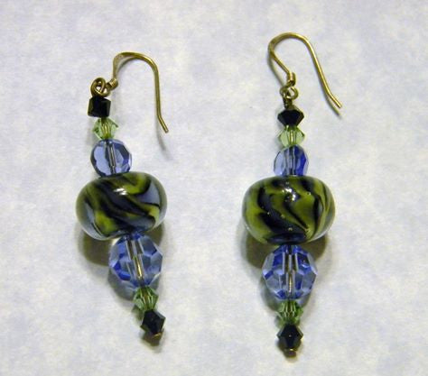 Black, Olive Green & Dutch Blue Art Glass Lampwork and Crystal Earrings