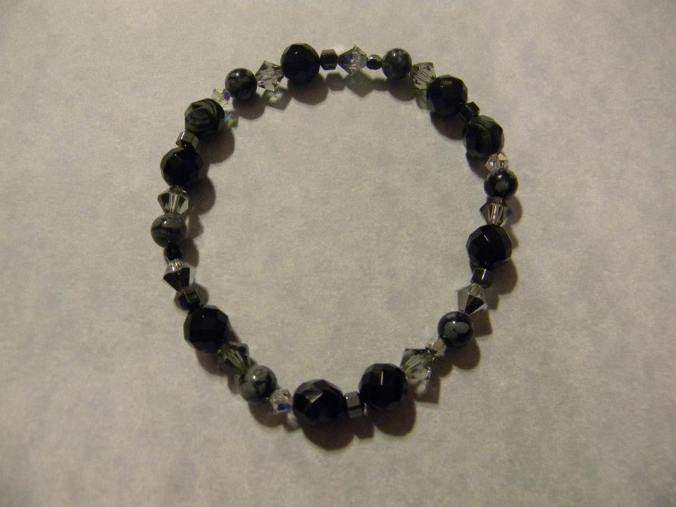 Black, Gray and Silver Gemstone, Crystal and Glass Bead Stretch Bracelet