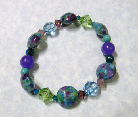 Art Glass, Crystal and Gemstone Stretch Bracelet in Shades of Blue, Green and Purple