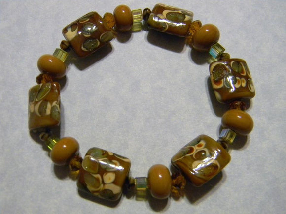 Shades of Beige, Cream and Olive Art Glass Stretch Bracelet with Crystals, Glass and Seed Beads