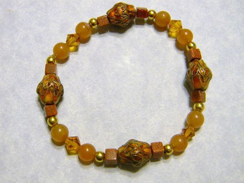 Peach Colored Cloisonné, Gemstone and Crystal Stretch Bracelet