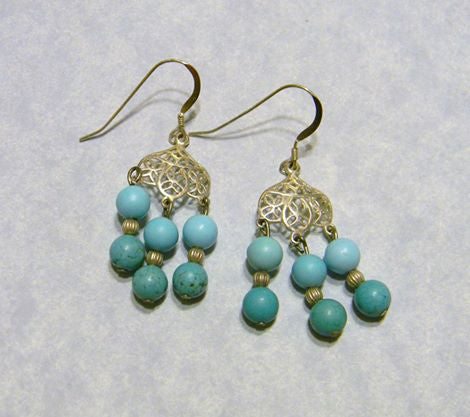 Turquoise, Dyed Shell and Silver Chandelier Earrings