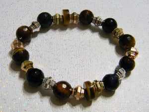 Tri-color Tigers Eye and Tri-color Metal Stretch Bracelet