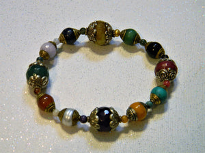 Rainbow, Multicolor Tibetan Repousse Gemstone Stretch Bracelet