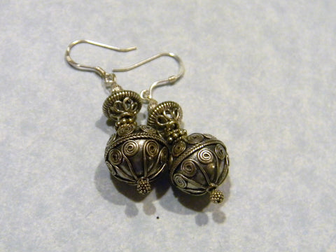All Silver Bali Bead Drop Earrings