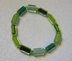 Shades of Green Furnace Cane Bead and Crystal Bicone Stretch Bracelet