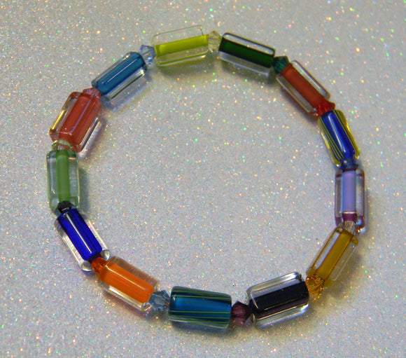 Rainbow Multicolor Furnace Cane Bead and Crystal Bicone Stretch Bracelet