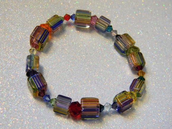 Rainbow, Multicolor Furnace Cane Bead, Faceted Glass and Crystal Stretch Bracelet