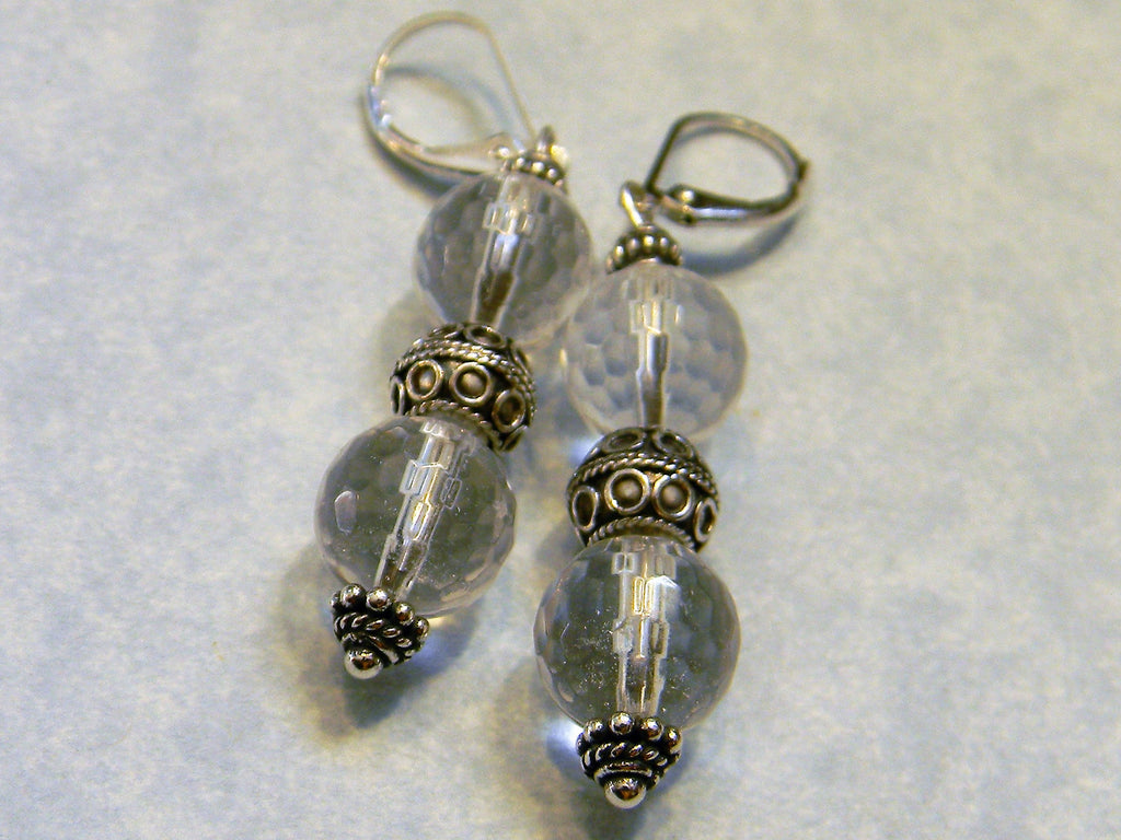 Clear Faceted Quartz and Bali Silver Bead Drop Earrings