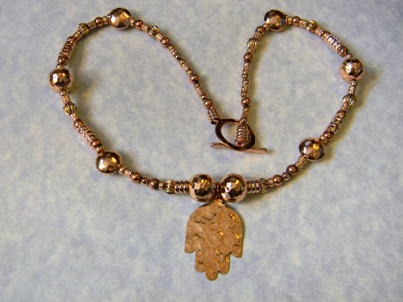 Rose Gold and Copper Hamsa Pendant Necklace