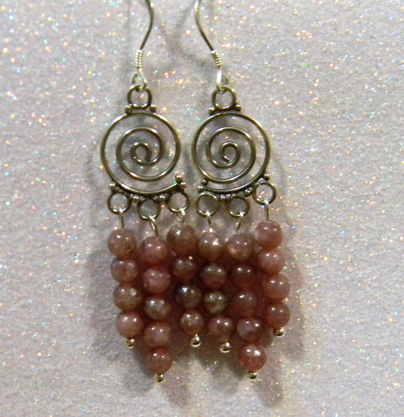 Lepidolite and Silver Spiral Chandelier Earrings