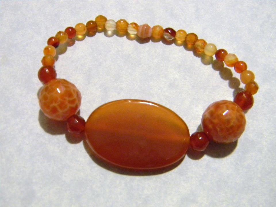 Carnelian and Crab Agate Stretch Bracelet