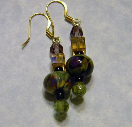 Raku Art Glass Earrings with CZs, Crystals, Seed Beads and Faceted Glass Beads