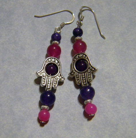 Pink and Purple Gemstone and Hamsa Bead Frame Earrings
