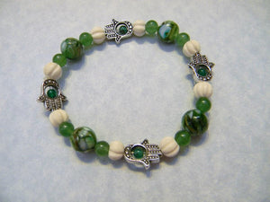 Hamsa Bead Frame and Green and White Gemstone and Carved Bone Stretch Bracelet