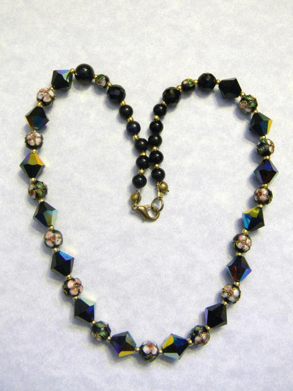 Black Crystal, Cloisonné and Onyx Bead Necklace