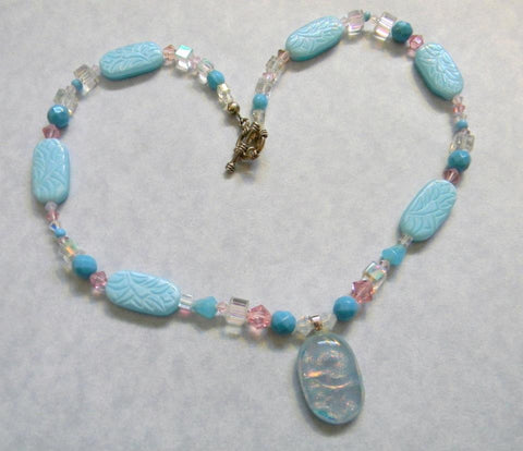 Blue and Pink Art Glass Pendant with Pressed Glass and Faceted Glass Beads