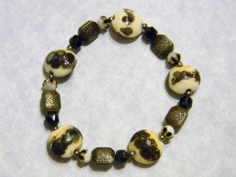 Black, White and Gold Art Glass Lampwork,Gemstone and Enamel Stretch Bracelet