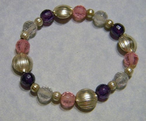 Pink and Purple CZ and Silver Stretch Bracelet