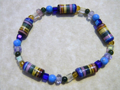 Multicolor Peruvian Ceramic Bead, Glass, Crystal and Gemstone Stretch Bracelet