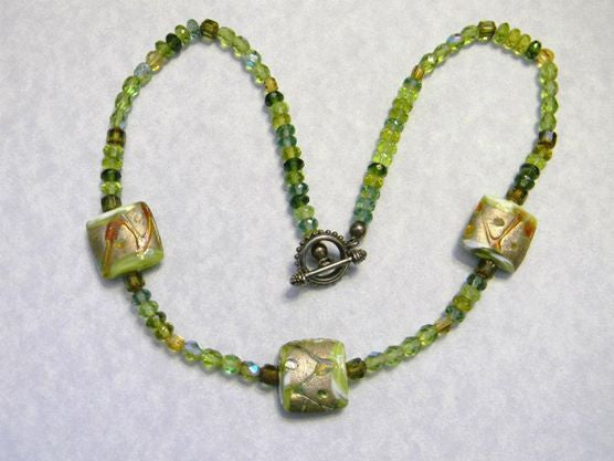 Shades of Green and Gold Art Lampwork, Cathedral and Glass Bead Necklace