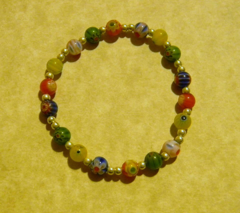 Multicolor Millefiori and Silver Bead Stretch Bracelet