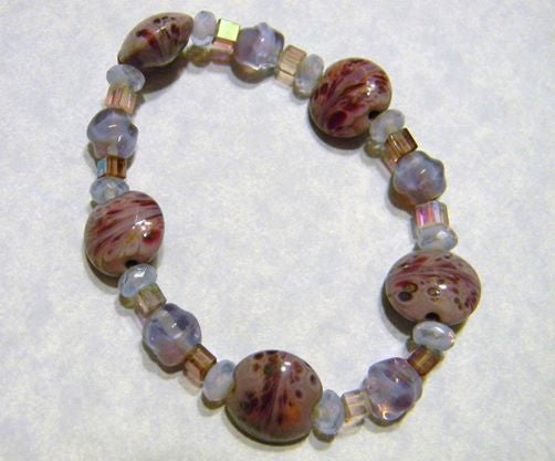 Mauve and Purple Art Glass Lampwork Bead, Crystal and Glass Nugget Stretch Bracelet