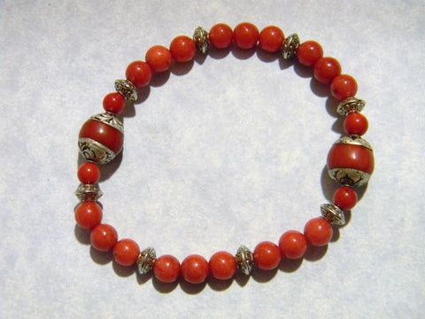 Red Dyed Jade and Tibetan Repousse Silver Stretch Bracelet
