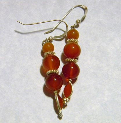 Carnelian, Peach Aventurine and Silver Drop Earrings
