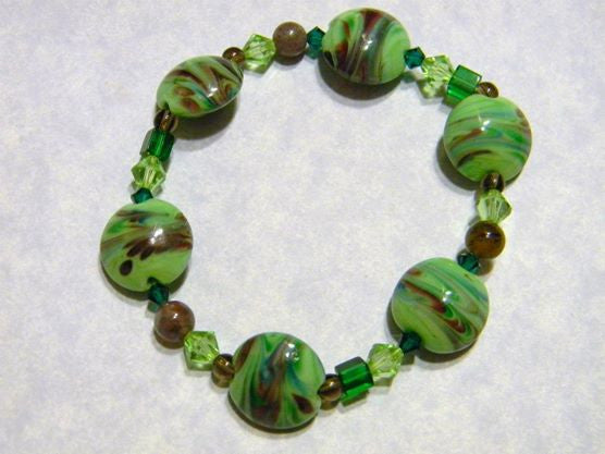 Apple Green, Brown and Purple Art Glass Lampwork, Crystal and Glass Bead Stretch Bracelet