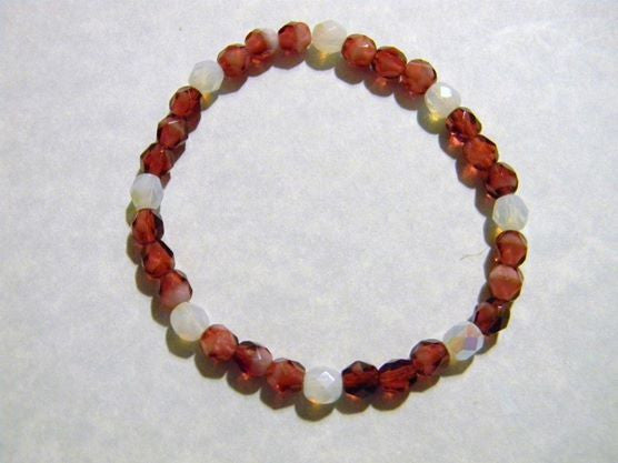 Pomegranate Givre & White Faceted Opalized Glass Bead Stretch Bracelet