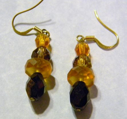 Shades of Brown and Gold Glass Drop Earrings