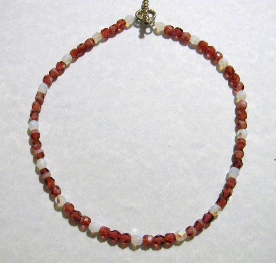Pomegranate Givre and White Glass Bead Necklace
