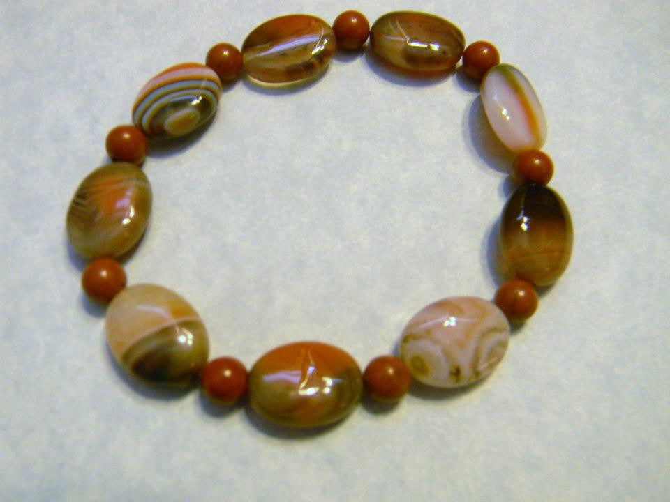 Orange, Brown and White Striped Agate and Red Jasper Stretch Bracelet