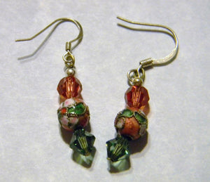 Salmon Cloisonné and Crystal Drop Earrings.
