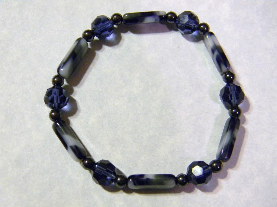 Navy, Gray and White Glass Bead, Crystal and Hematite Stretch Bracelet