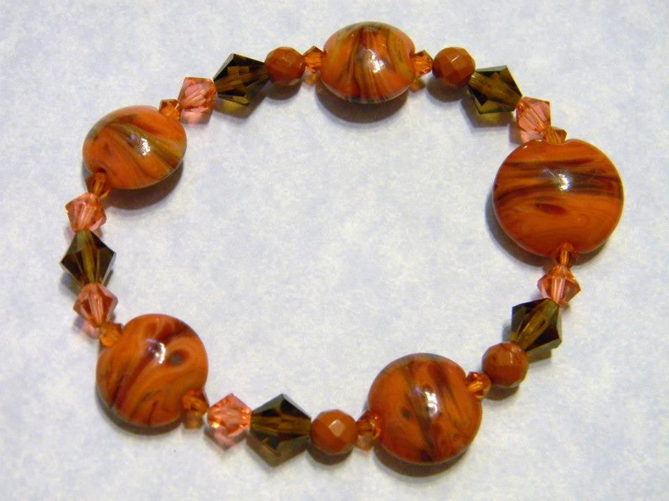 Orange and Brown Art Glass Lampwork and Crystal Stretch Bracelet