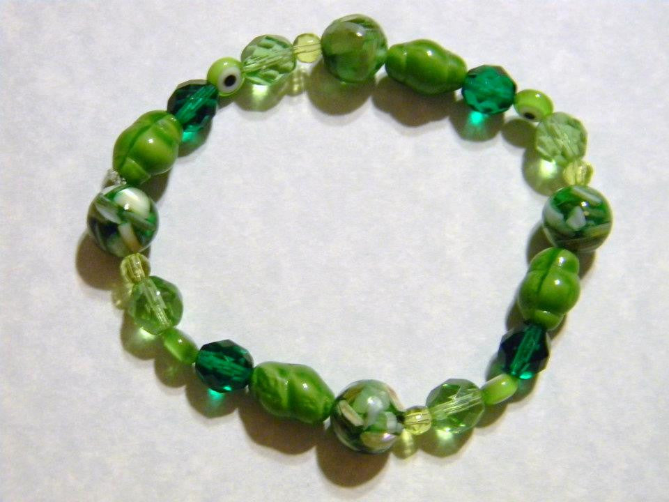 Shades of Green Glass, Evil Eye and Dyed Mosiac Shell Stretch Braclet