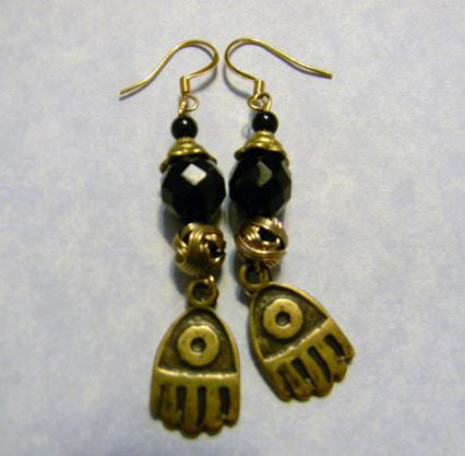 Onyx and Brass Earrings with Brass Hamsa Charms